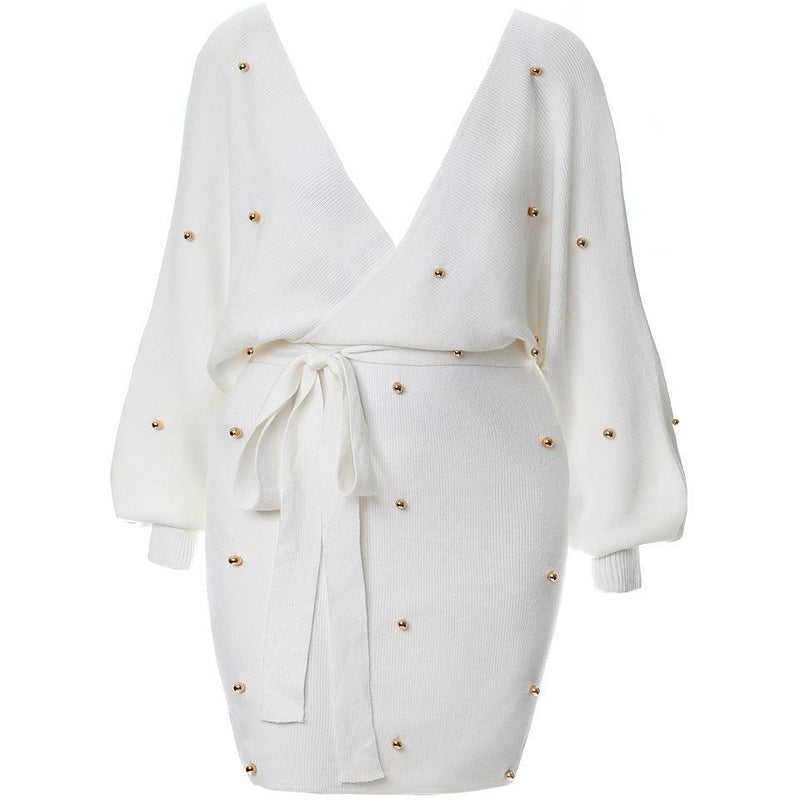 Plus Size Pearl Embellished Sweater Dress, Ivory