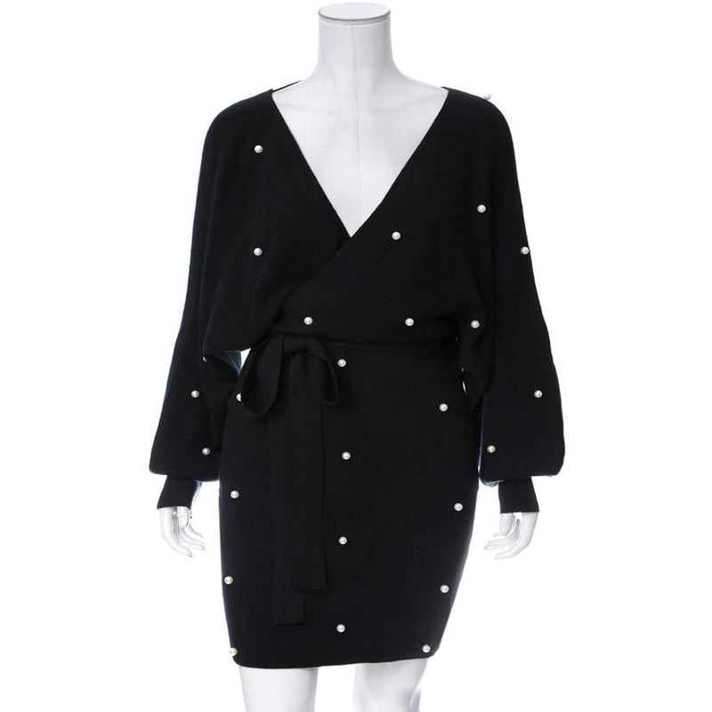 Plus Size Pearl Embellished Sweater Dress, Black