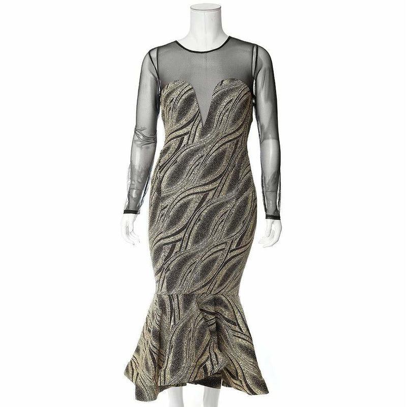 Posh Shoppe: Plus Size Metallic Knit Mermaid Evening Dress Dress