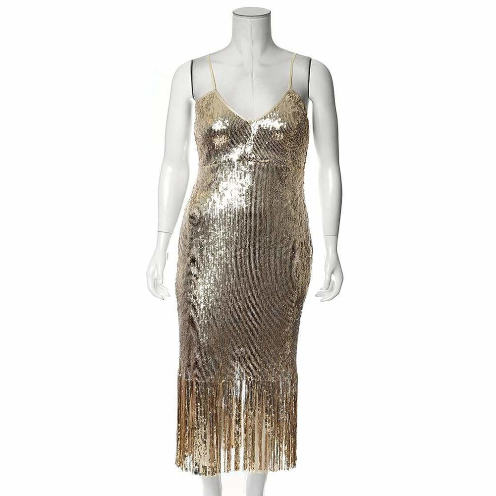 Plus Size Fringe Slip Dress, Gold Sequin