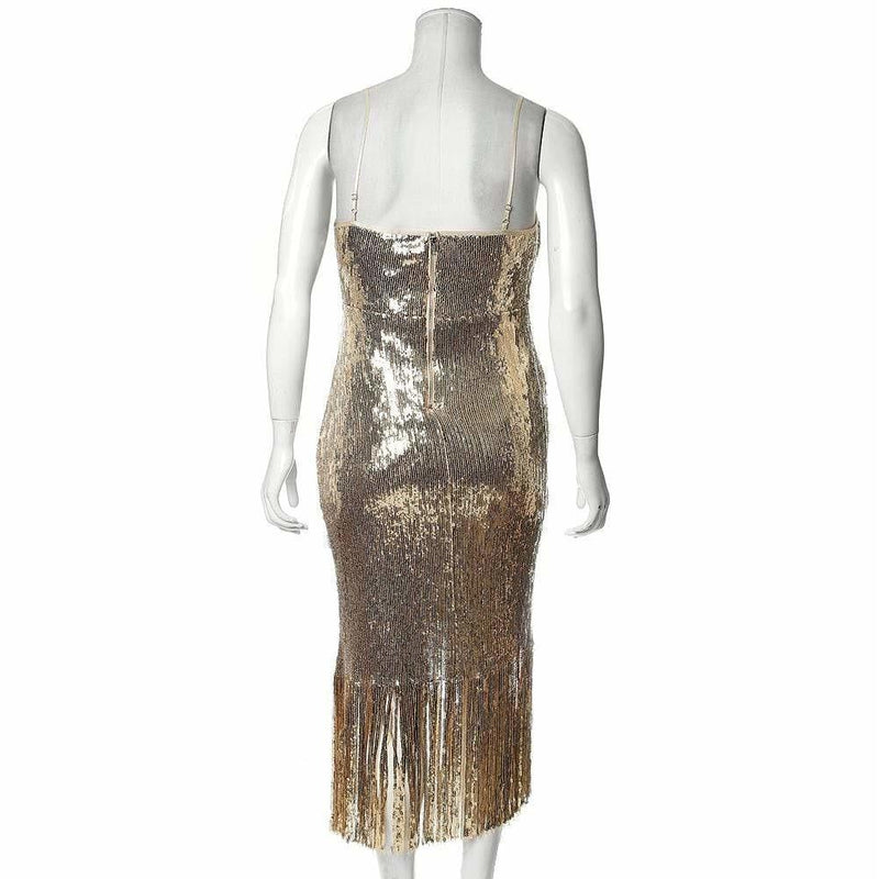Posh Shoppe: Plus Size Fringe Slip Dress, Gold Sequin Dress