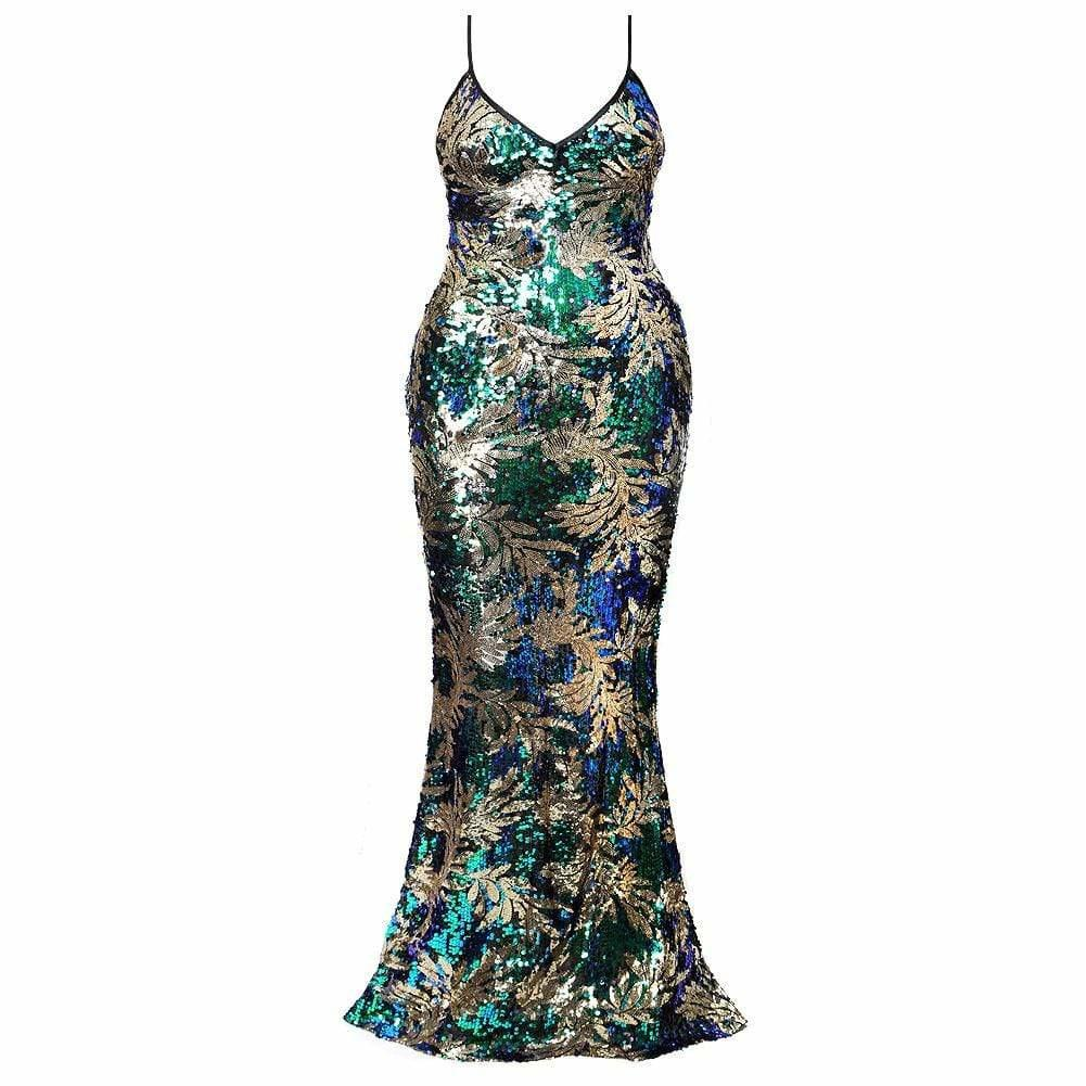 Posh Shoppe: Plus Size Sequin Mermaid Evening Gown Dress
