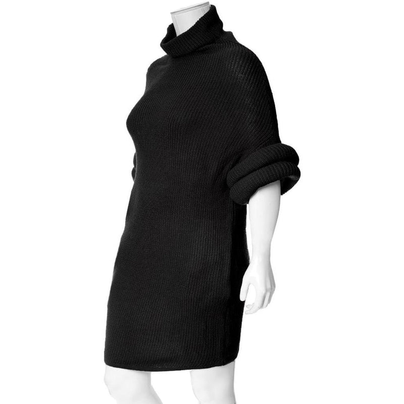 Posh Shoppe: Plus Size Roll Sleeve & Neck Sweater Dress, Black Dress