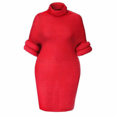 Posh Shoppe: Plus Size Roll Sleeve & Neck Sweater Dress, Red Dress