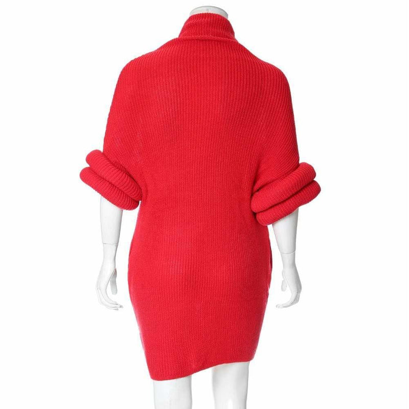 Plus Size Roll Sleeve & Neck Sweater Dress, Red