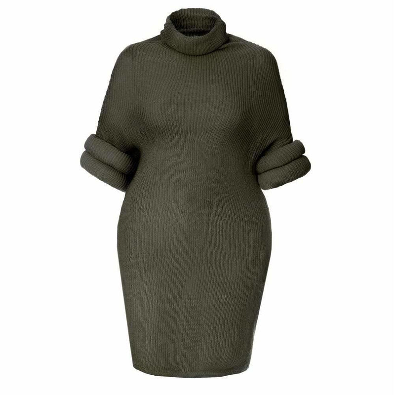 Plus Size Roll Sleeve & Neck Sweater Dress, Black