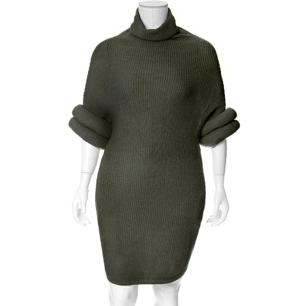 Posh Shoppe: Plus Size Roll Sleeve & Neck Sweater Dress, Olive Dress