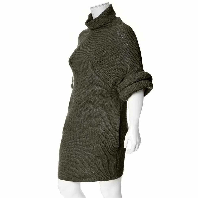 Plus Size Roll Sleeve & Neck Sweater Dress, Olive