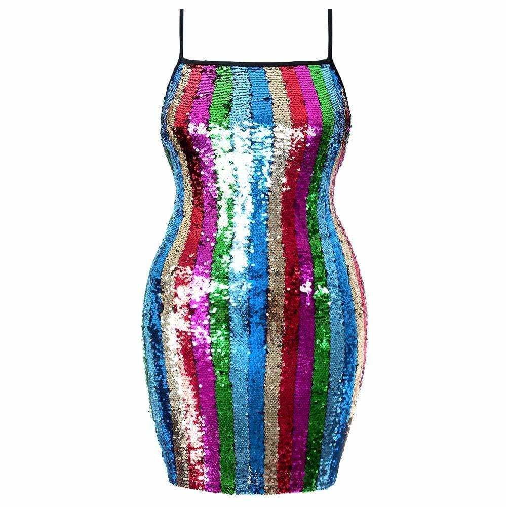 Plus Size Sequin Front Mini Dress, Rainbow Stripes