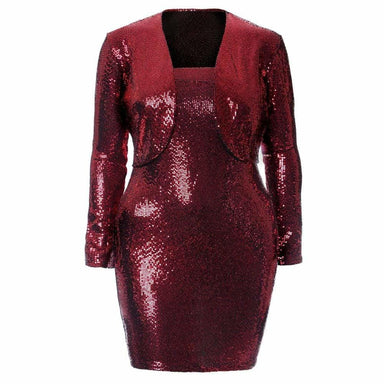 Posh Shoppe: Plus Size Sequins Jacket & Dress Coordinated Set Dress