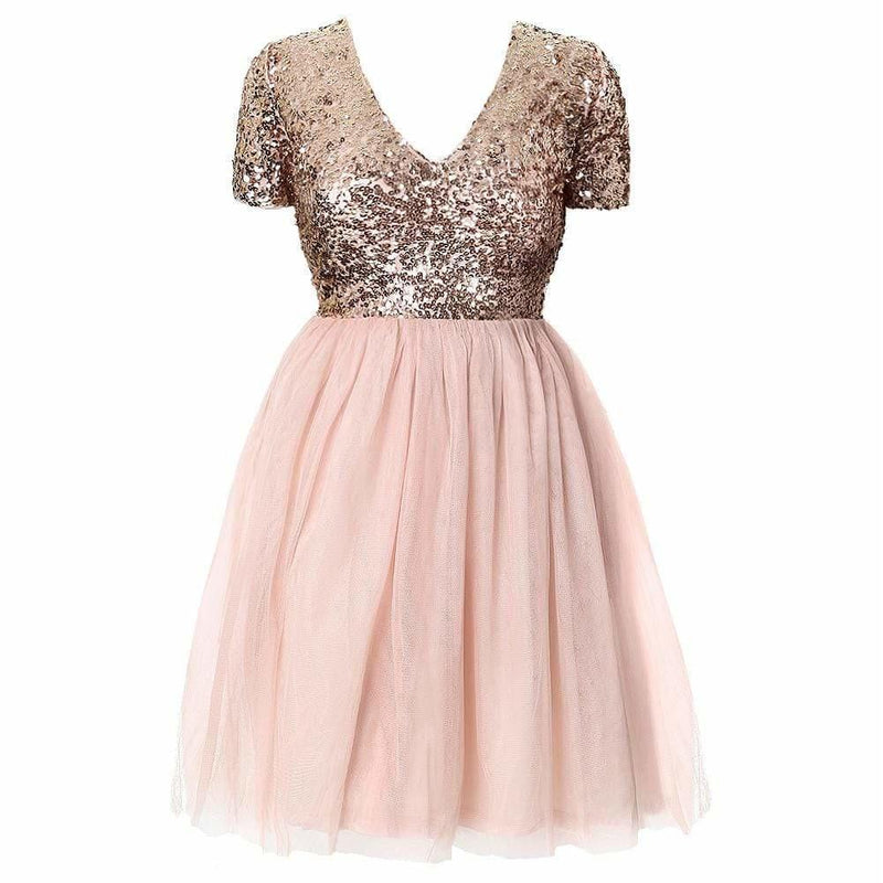 Plus Size Sequin Halter Dress, Rose Gold & Black