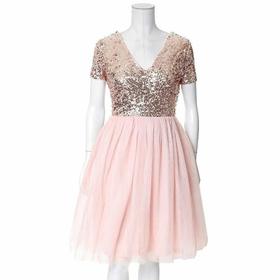 Plus Size Sequin and Tulle Princess Dress, Rose Gold – Posh Shoppe