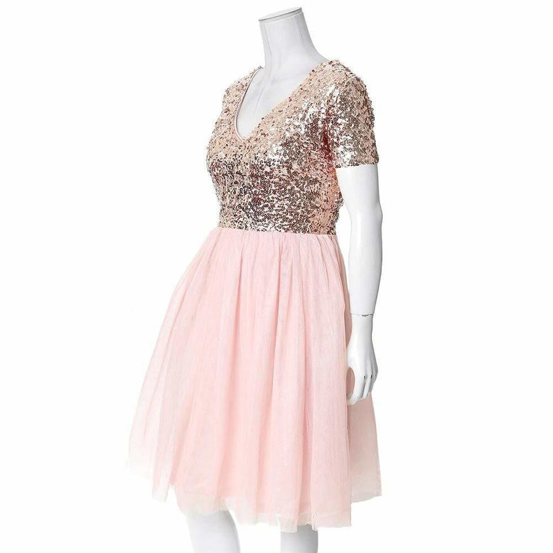 Plus Size Sequin and Tulle Princess Dress, Rose Gold