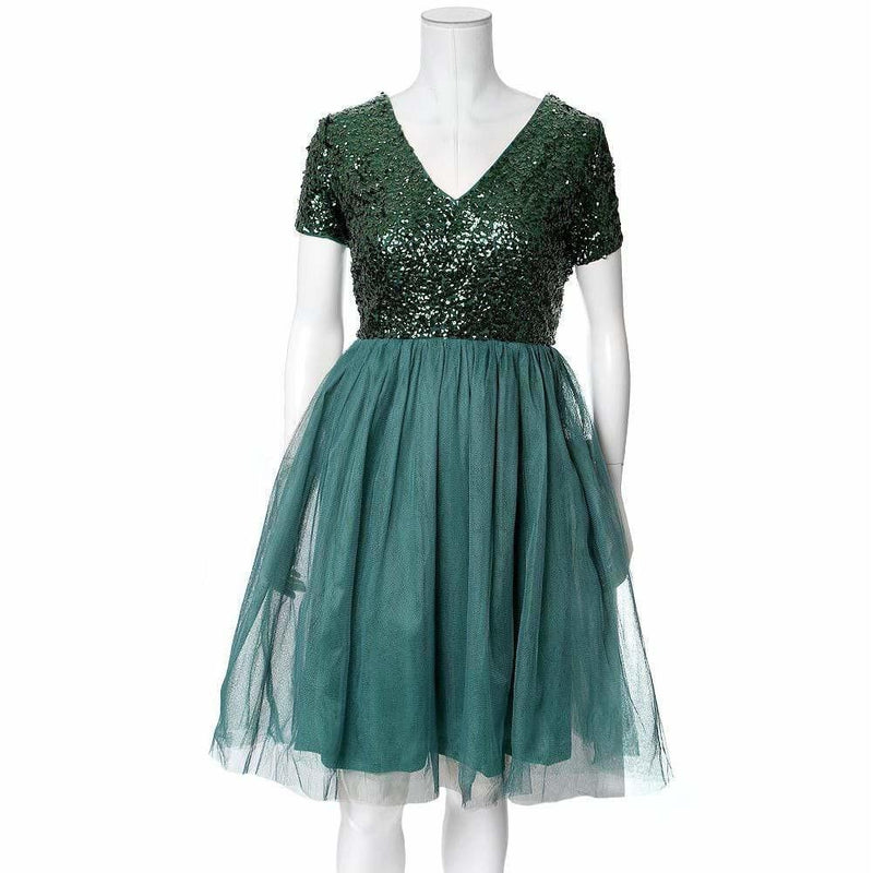 Plus Size Sequin and Tulle Princess Dress, Emerald