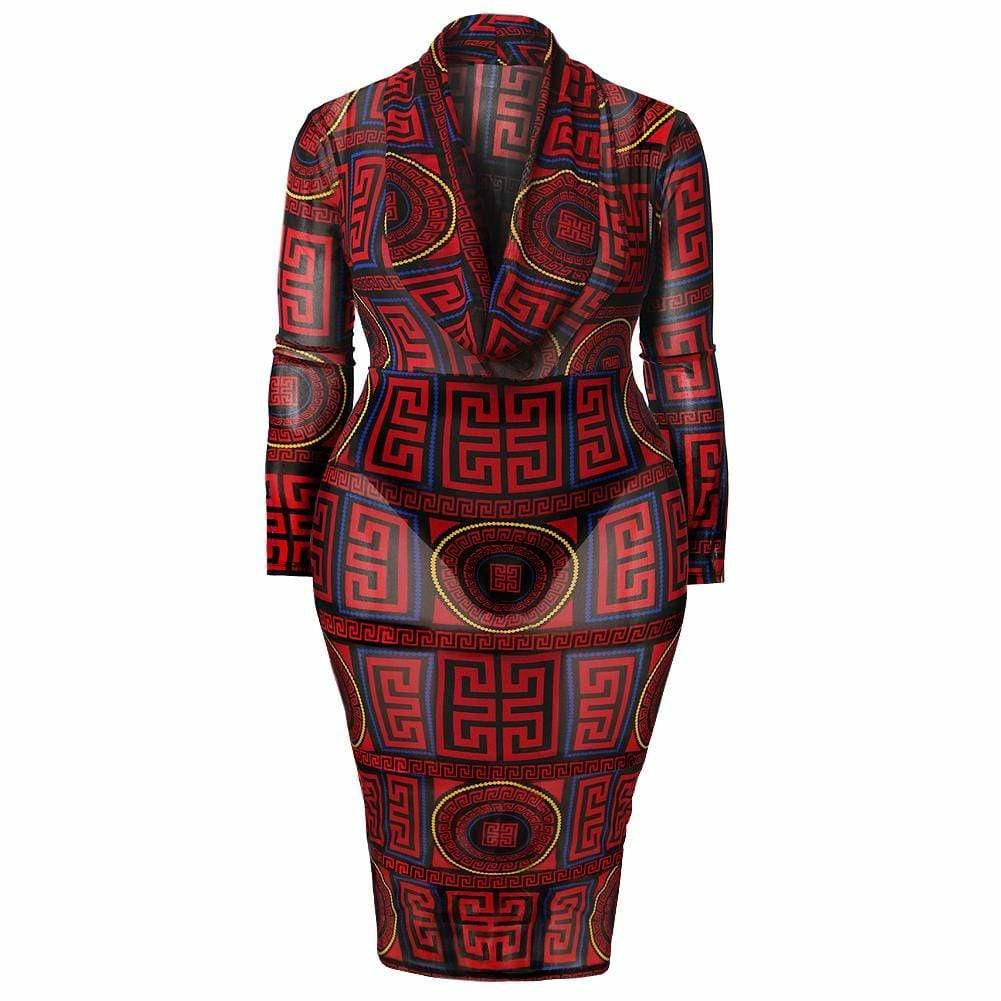 Plus Size Cowl Neck Mesh Dress, Red Medallion Print
