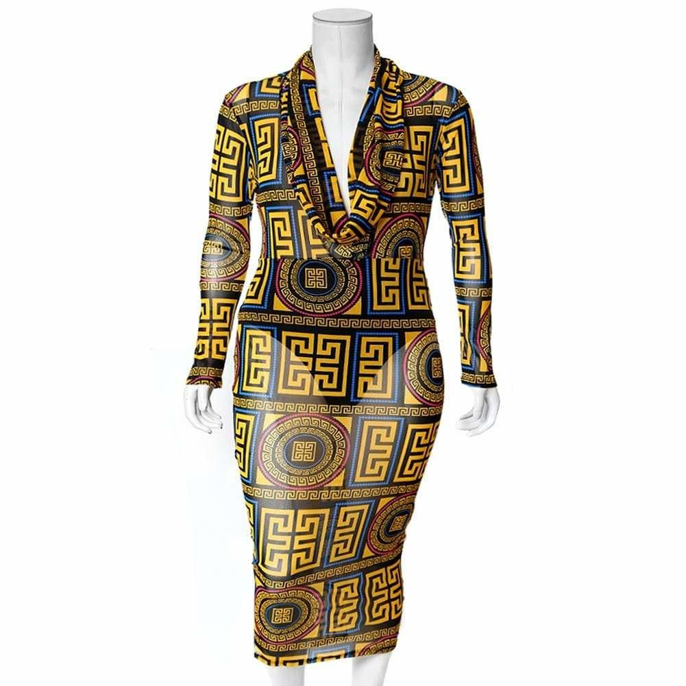 Plus Size Cowl Neck Mesh Dress, Yellow Medallion Print