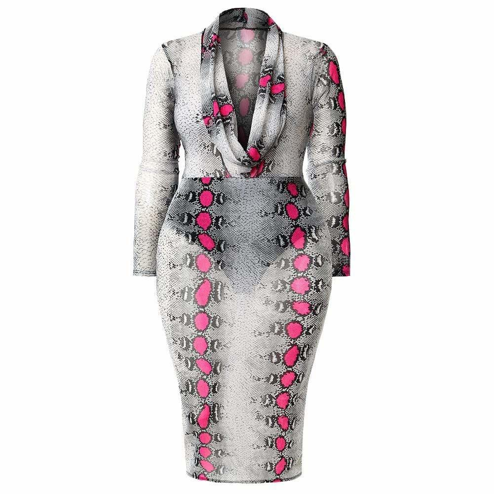 Plus Size Cowl Neck Mesh Dress, Pink Snakeskin Print