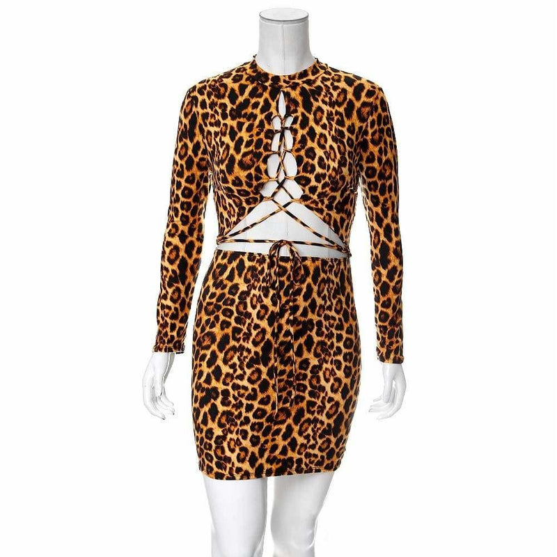 Plus Size Lace Up Split Front Mini Dress, Animal Print
