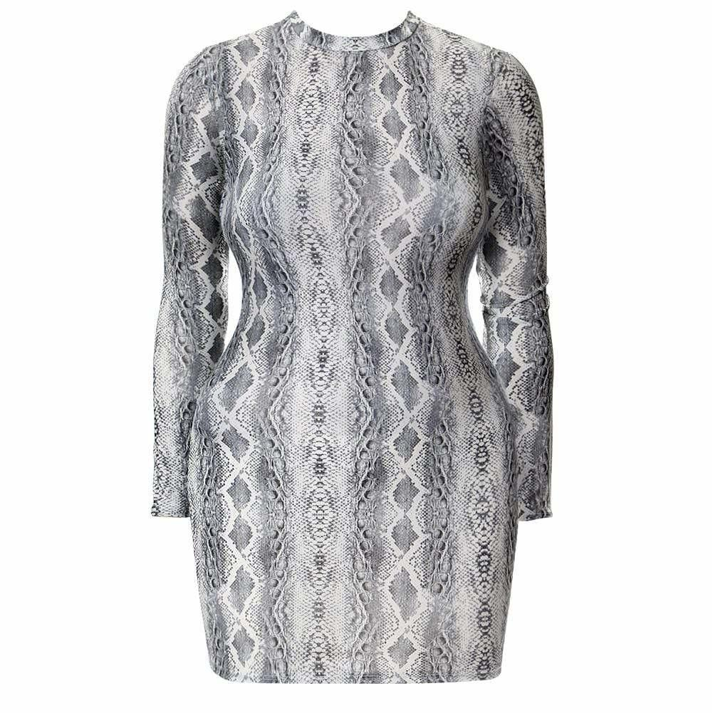 Plus Size Mock Neck Mini Dress, Snakeskin Print