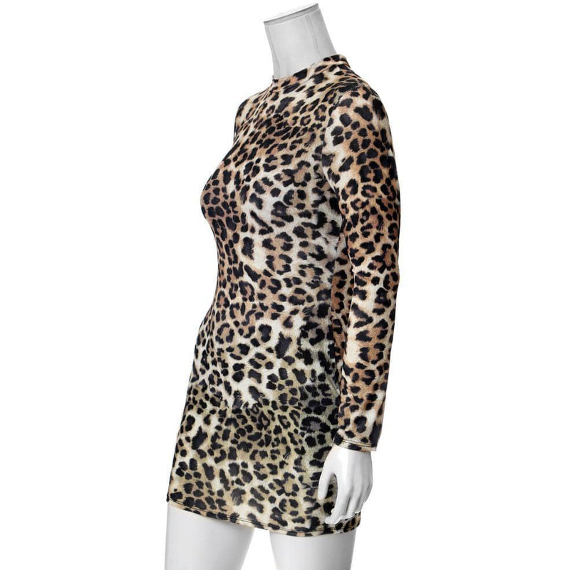 Plus Size Mock Neck Mini Dress, Animal Print