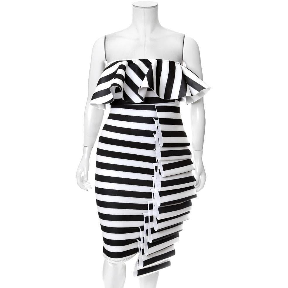 Plus Size Statement Strapless Dress, Black and White Stripes