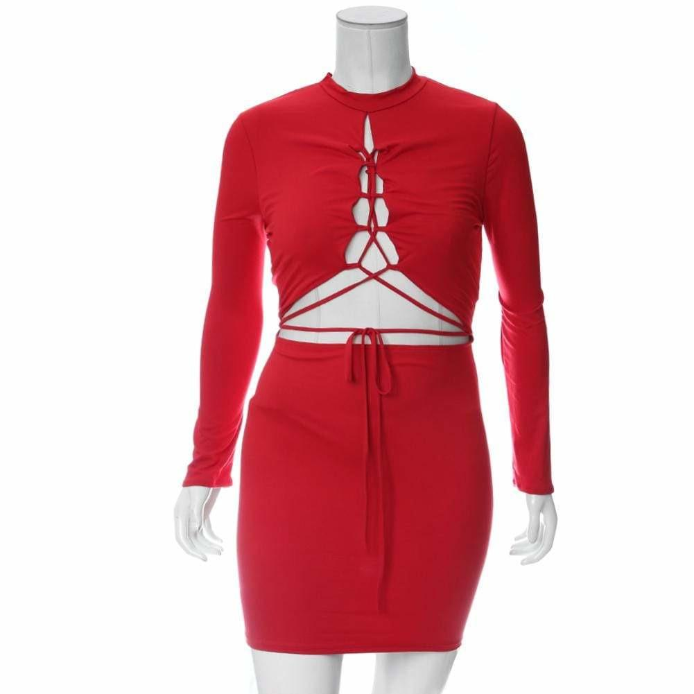 Posh Shoppe: Plus Size Lace Up Split Front Mini Dress, Red Dress