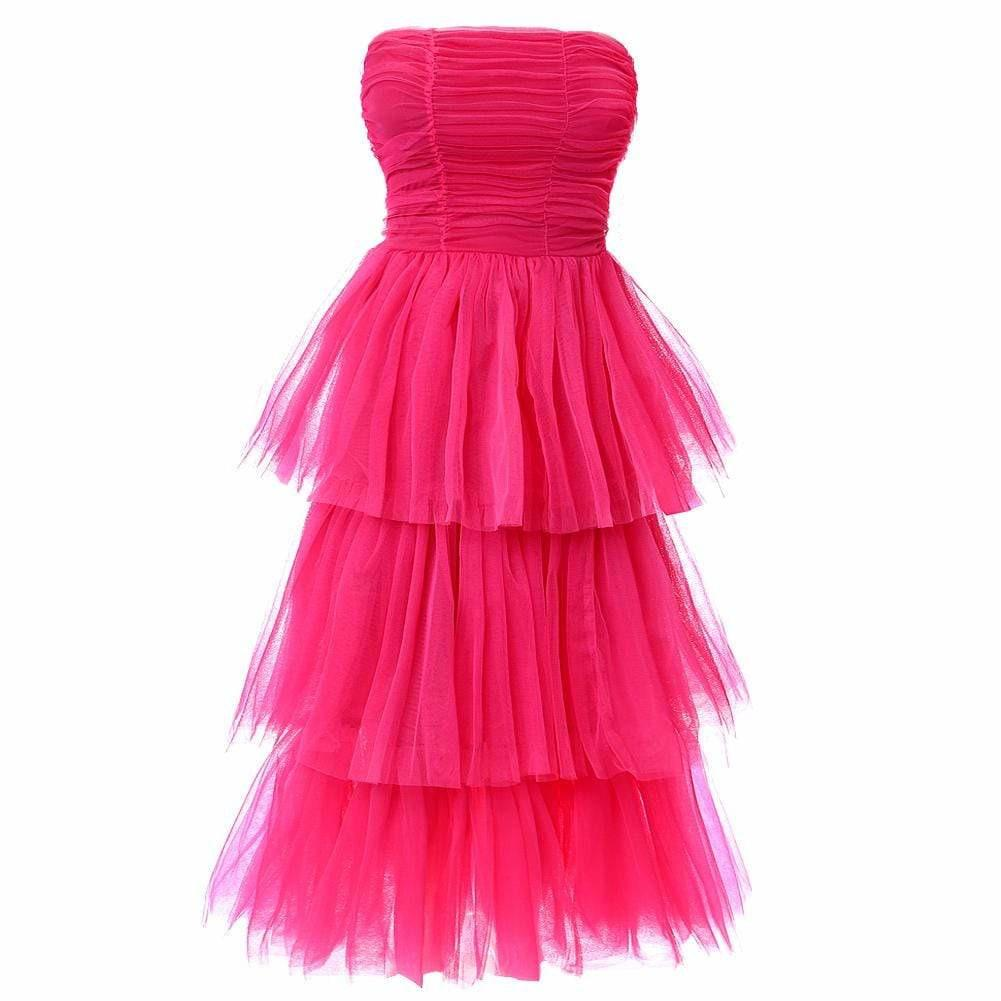 Plus Size Tiered Tulle Maxi Dress, Pink