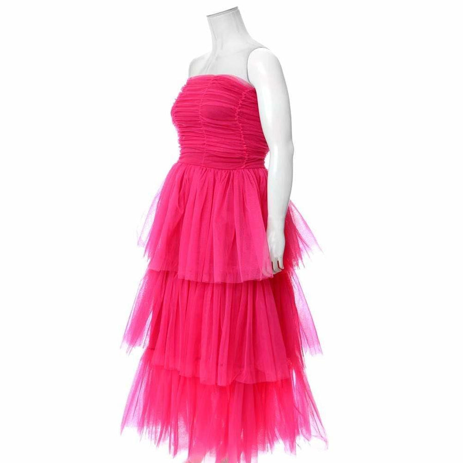 Plus Size Tiered Tulle Maxi Dress, Pink – Posh Shoppe