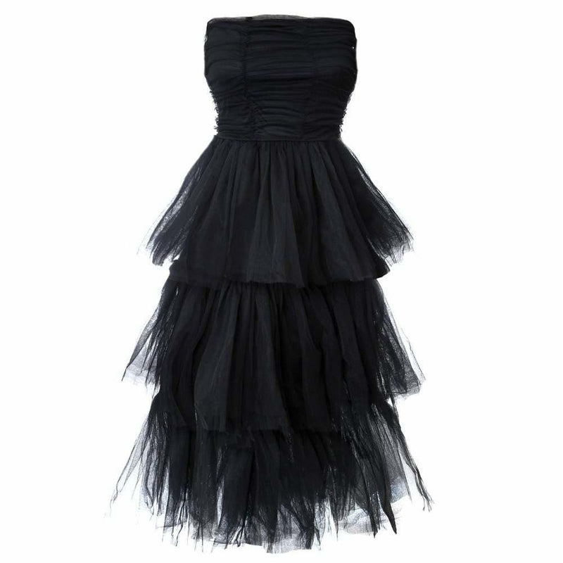 Posh Shoppe: Plus Size Tiered Tulle Maxi Dress, Black Dress