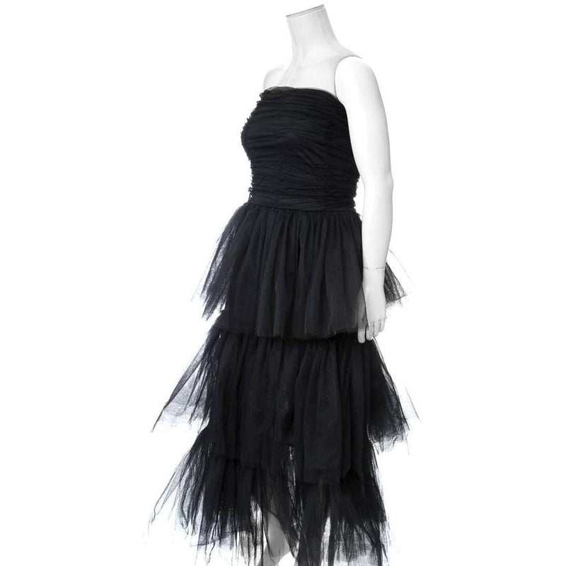 Plus Size Tiered Tulle Maxi Dress, Black