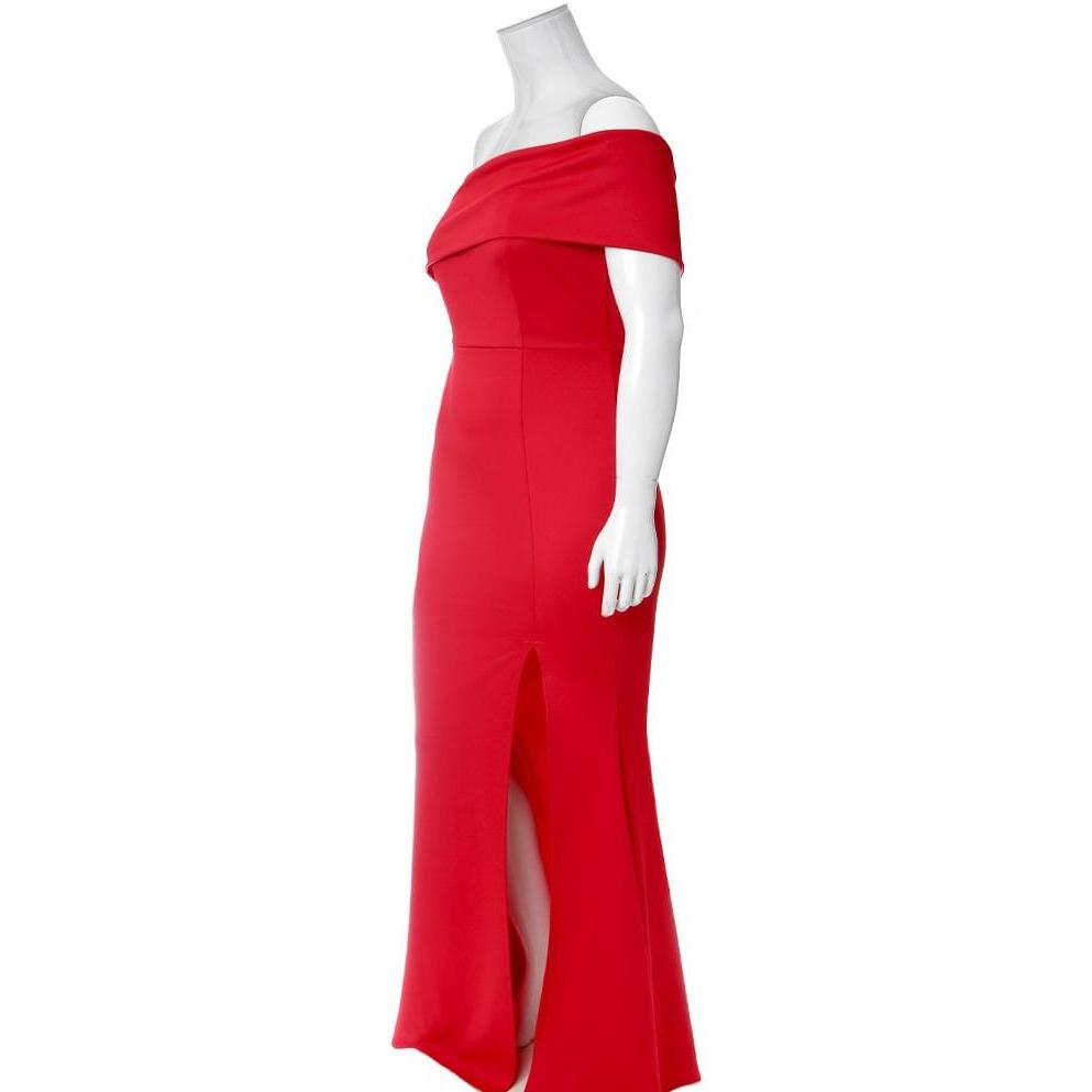 Posh Shoppe: Plus Size One Shoulder Occasion Maxi, Red Dress