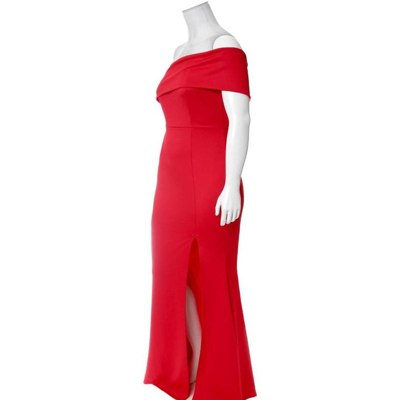 Plus Size One Shoulder Occasion Maxi, Red
