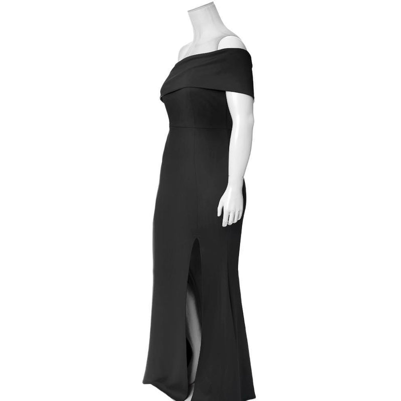 Plus Size One Shoulder Occasion Maxi, Black