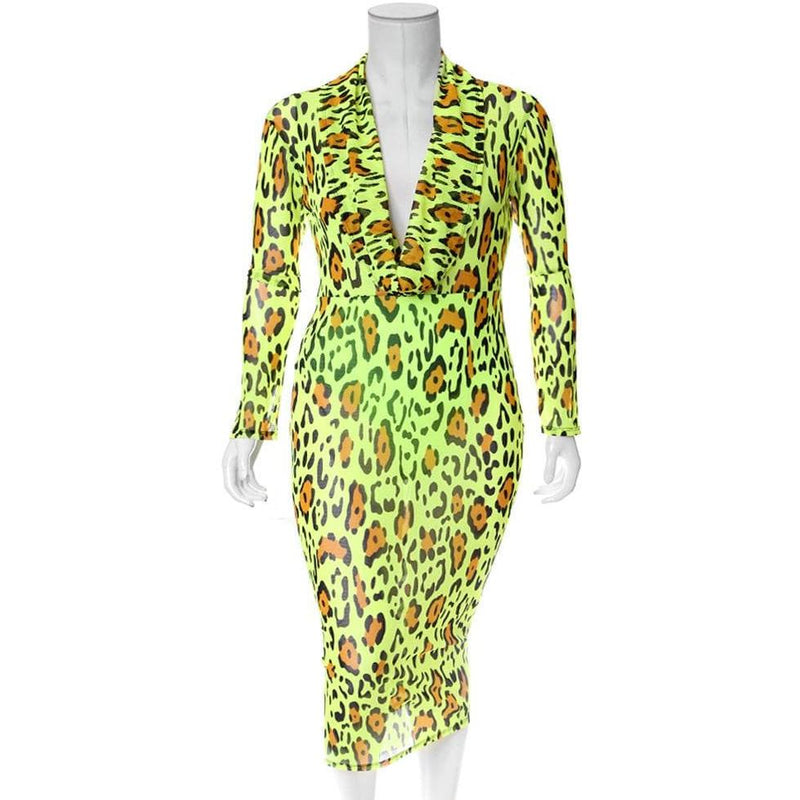 Plus Size Cowl Neck Mesh Dress, Neon Green