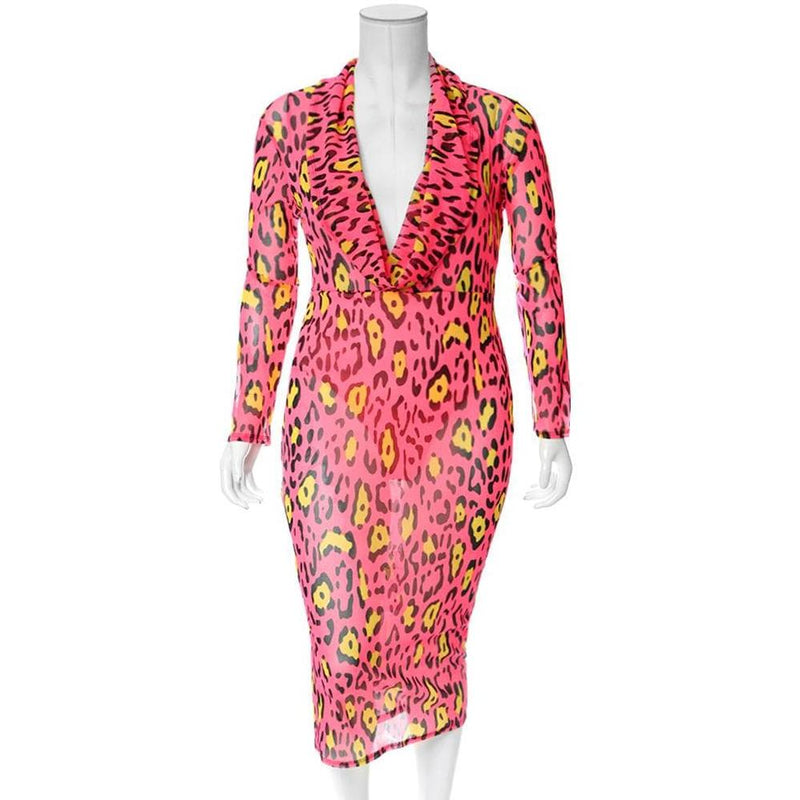 Plus Size Cowl Neck Mesh Dress, Neon Pink