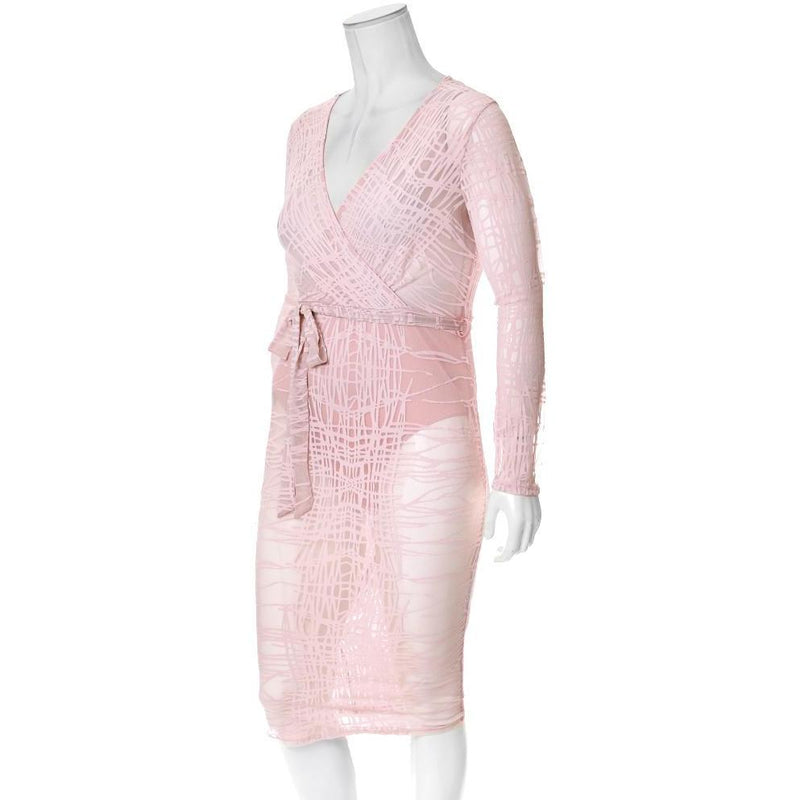 Plus Size Sheer Mesh Faux Wrap Dress, Blush
