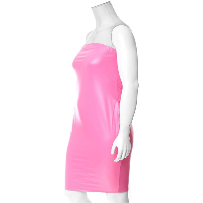 Plus Size Matte Finish Strapless Dress, Neon Pink