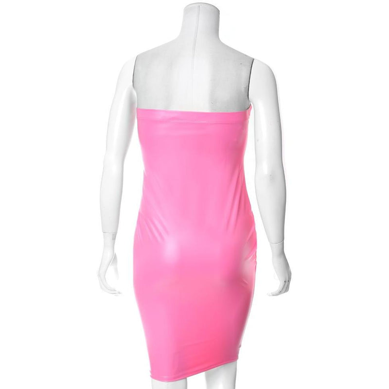 Posh Shoppe: Plus Size Matte Finish Strapless Dress, Neon Pink Dress