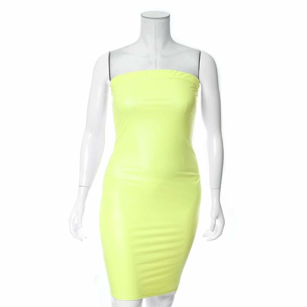 Posh Shoppe: Plus Size Matte Finish Strapless Dress, Neon Yellow Dress