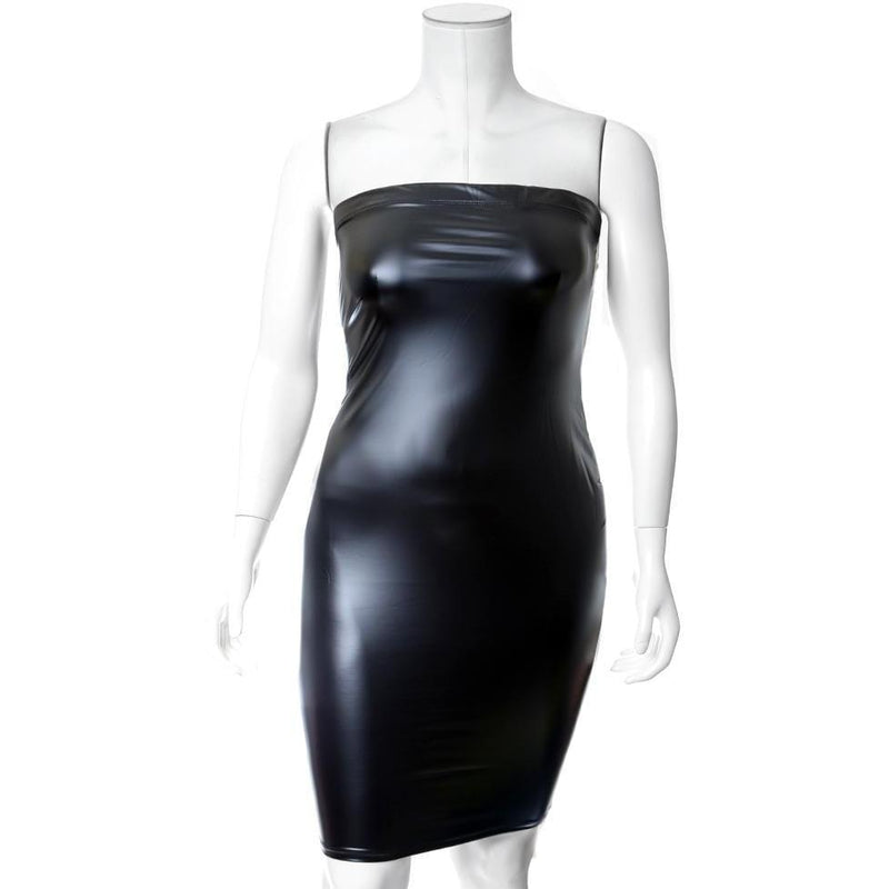 Posh Shoppe: Plus Size Matte Finish Strapless Dress, Black Dress