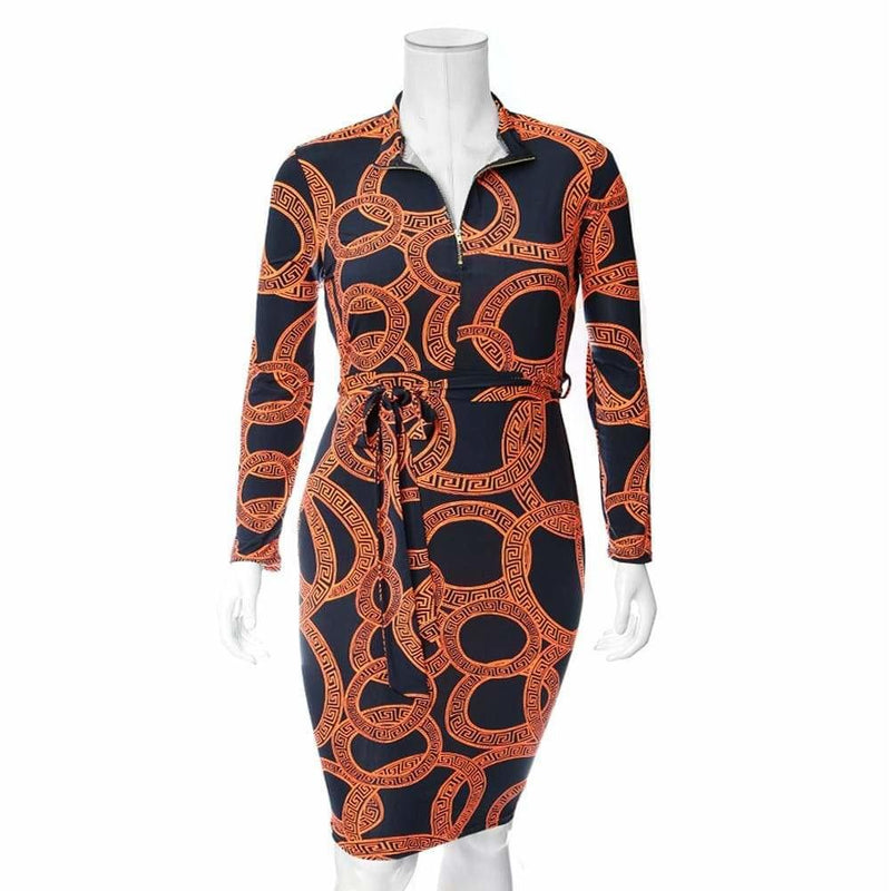 Plus Size Zip Up Medallion Print Midi Dress, Orange
