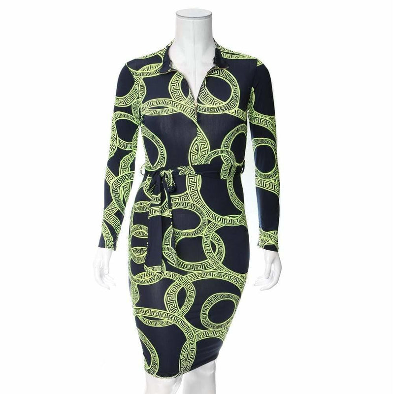 Plus Size Zip Up Medallion Print Midi Dress, Neon Green