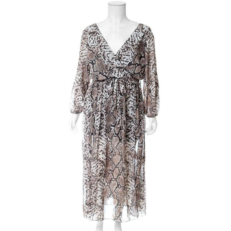Posh Shoppe: Plus Size Double Slit Chiffon Maxi, Snake Print Dress