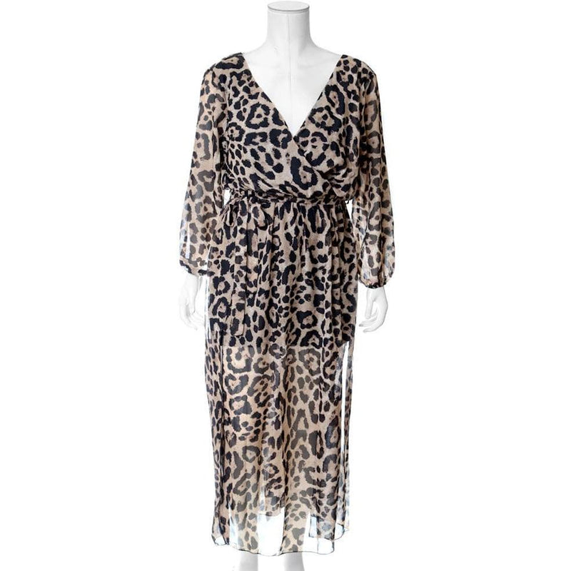 Plus Size Double Slit Chiffon Maxi, Cat Print