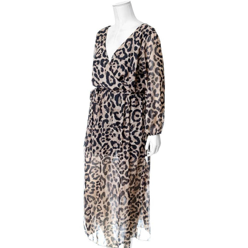 Posh Shoppe: Plus Size Double Slit Chiffon Maxi, Cat Print Dress