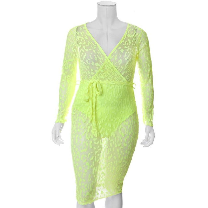 Plus Size Sheer Mesh Faux Wrap Dress, Neon Cat