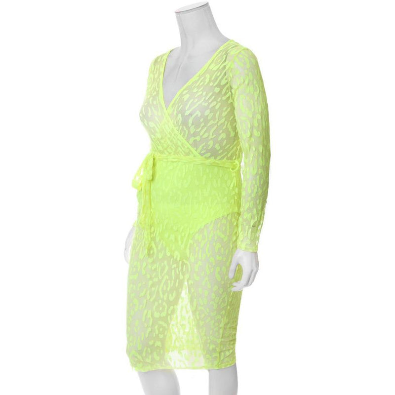 Posh Shoppe: Plus Size Sheer Mesh Faux Wrap Dress, Neon Cat Dress