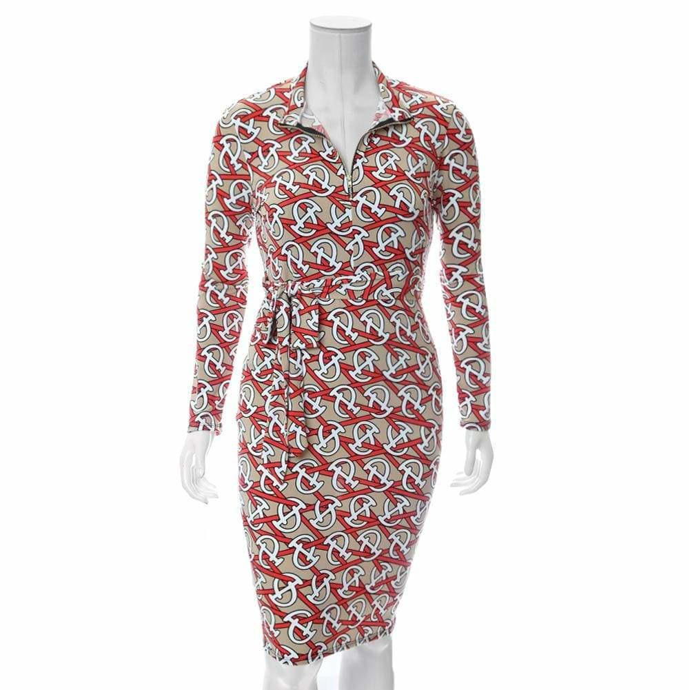 Posh Shoppe: Plus Size Zip Up Link Print Midi Dress, Nude & Poppy Dress