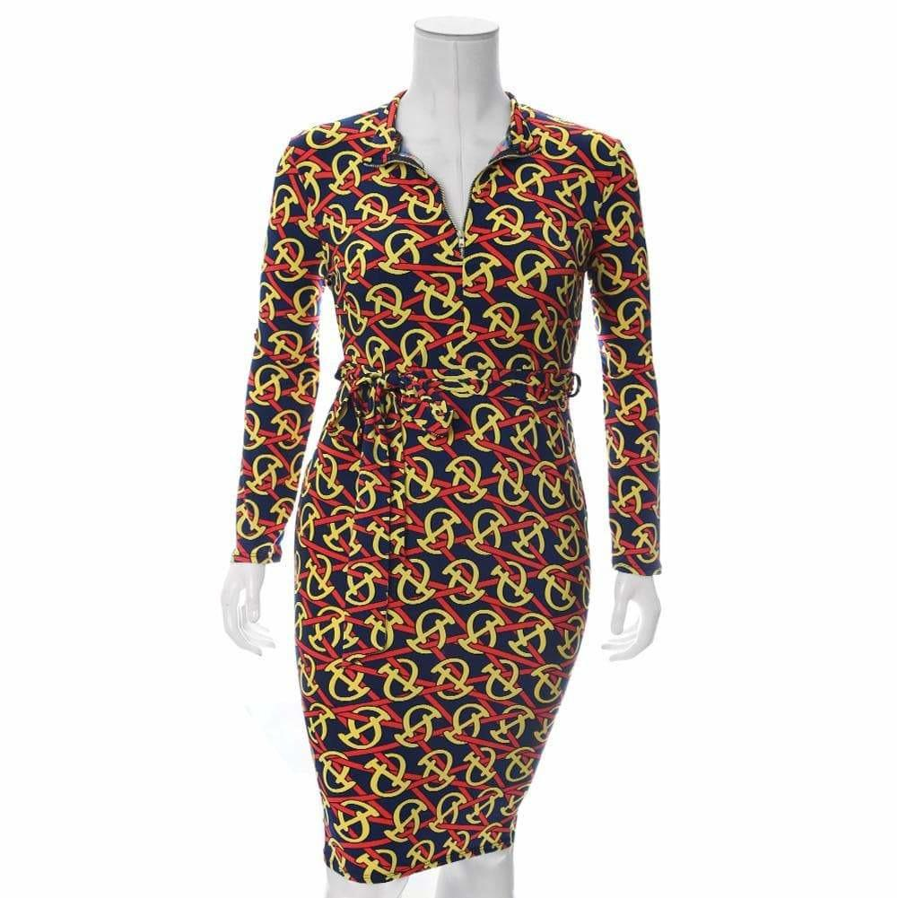 Posh Shoppe: Plus Size Zip Up Link Print Midi Dress, Navy & Yellow Dress