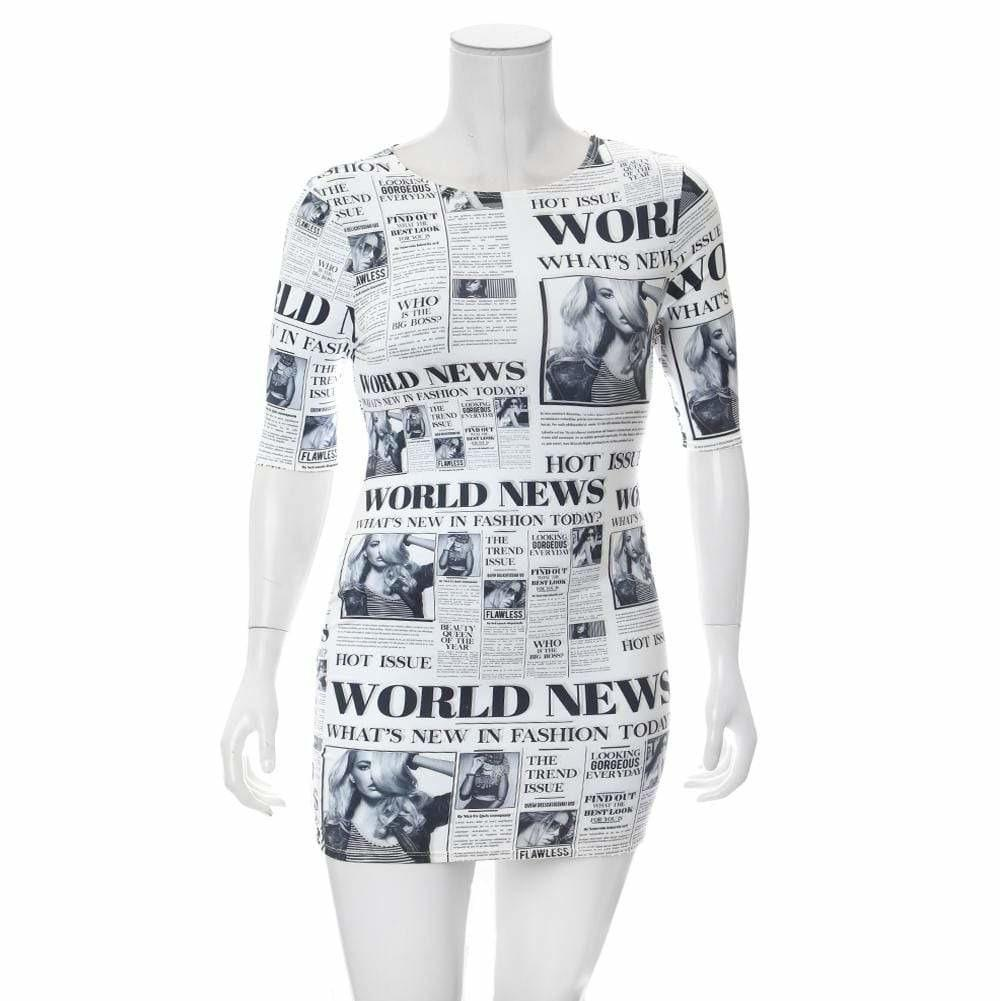Plus Size Round Neck Mini Dress, Newsprint